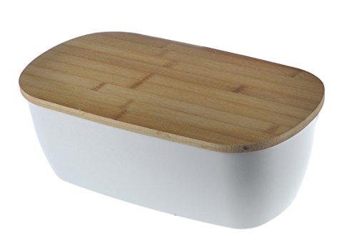 Brotkasten Bambus Creme groß mit Deckel Holz Bamboo Brotdose Natur Vorratsdose Universaldose Aufbewahrungsdose Dose