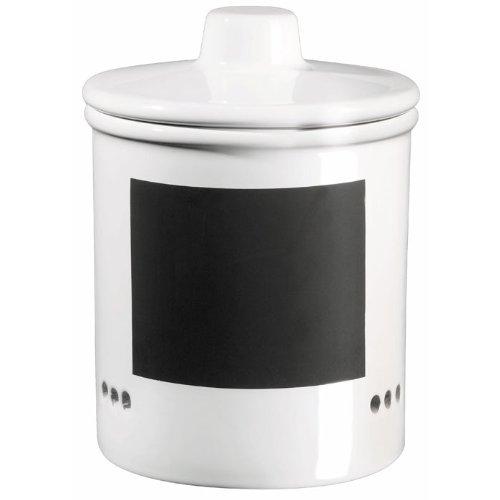 ASA 50719147 Zwiebeltopf Keramik, 14 x 14 x 15 cm, weiß/schwarz