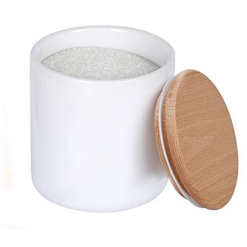KKC Keramik Vorratsdose mit Buchenholz Deckel Luftdicht 650ml für Kaffee,Kaffeebohnen,Tee,Salz,Zucker,Kekse,Lebensmittel