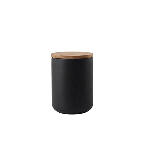 Vorratsdosen Keramik mit Bambusdeckel mit Holzdeckel, keramische Lebensmittel Vorratsglas Medium Keramik Küche Container für Tee, Kaffee, Gewürz und mehr 260/800/1000 ml Schwarz