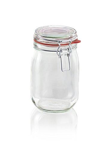 Leifheit Drahtbügelglas, 1140 ml, spülmaschinenfestes Einmachglas, Vorratsglas zum Einlegen, Einmachen & Einkochen, dekoratives Einmachglas mit Deckel