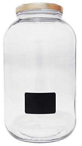 Viva Haushaltswaren #19665# XXL Einmachglas 4250ml mit Schraubverschluss, Vorratsglas Glasdose inklusiv Beschriftungsetikett Vorratsdose, Glas, Transparent, 15.9 x 15.9 x 27.7 cm