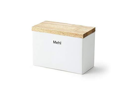 """Continenta Vorratsdose """"Mehl"""" aus Keramik, mit Holzdeckel und Silikonring, 20 x 10 x 14,5 cm"""