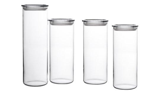 Bohemia Cristal 093 006 041 SIMAX Vorratsgläser aus hitzebeständigem Borosilikatglas 4er Set (1 Stück ca. 2,0 ltr. / 3 Stück ca. 1,5 ltr.) mit Kunststoffdeckel klar