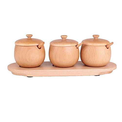 yanyaoo Aufbewahrungsdosen aus Holz massiv Gewürztopf Set Buche Gewürztopf Behälter mit Deckel und Löffel und Boden Universal Küchenutensilien