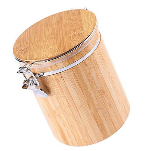 F Fityle Bambus Kaffeedose Vorratsdose mit Deckel für Kaffeebohnen/-Pulver, Tee, Nüsse - M