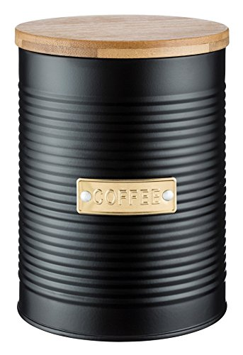 Typhoon Living Kaffee Vorratsdose mit Deckel aus Bambus, Stahl, schwarz, 11x 11x 15,5cm