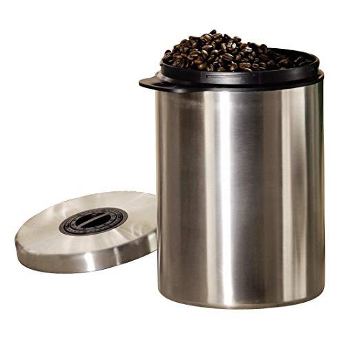 Xavax Kaffeedose, behälter für Kaffee, Tee, Kakao, Kaffeebohnen, mit Aromaverschluss, luftdicht, 1000 g, silber, Edelstahl