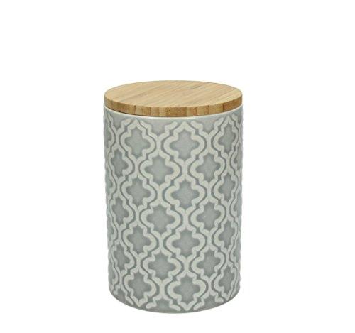 Vorratsdose KONIA, 950 ml., 15 cm hoch, Keramik, grau-weiß, wundervoll gearbeitete Struktur, mit tollem Dekor von TOGNANA