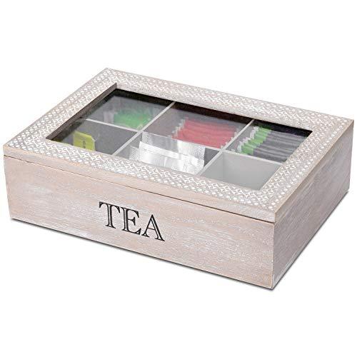 Aufbewahrungsbox Tea mit Sichtfenster und 6 Fächer, 24x17x7cm, Natur/Weiß, Aufbewahrungskiste Holzbox Teebox Teekiste