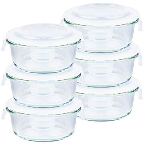 Grizzly Frischhaltedosen Glas 6 Stück Set rund 400 ml Vorratsdosen mit Deckel