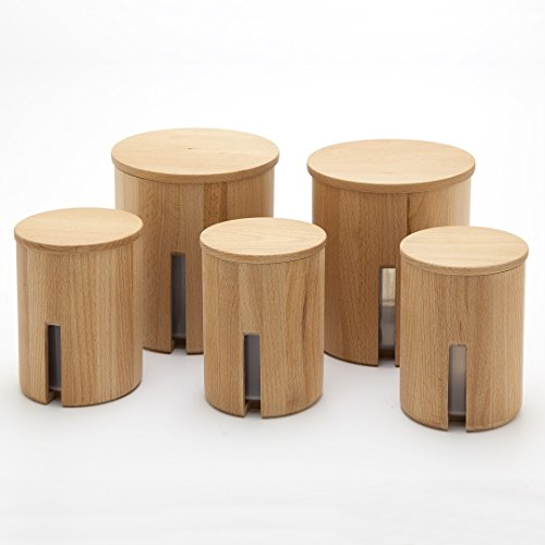 Holzfee Vorratsdose Lino Set5 Buche Holz Gewürzdose Lebensmitteldose