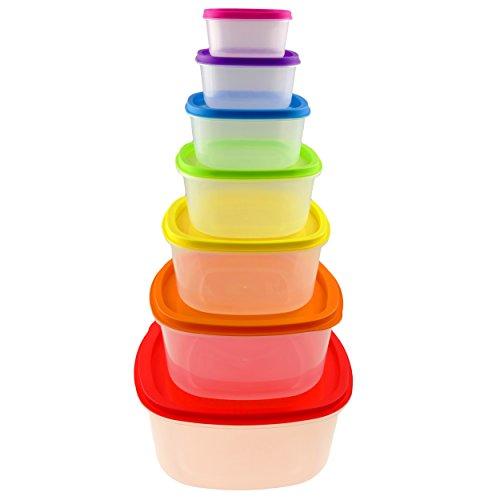 7er Dosenset lebensmittelecht dieses ist geeignet für Mikrowelle, Gefrierschrank und Spülmaschine. Fest verschlossen Dank optimaler Geometrie, Multifunktionsboxen, Frischhaltedosen