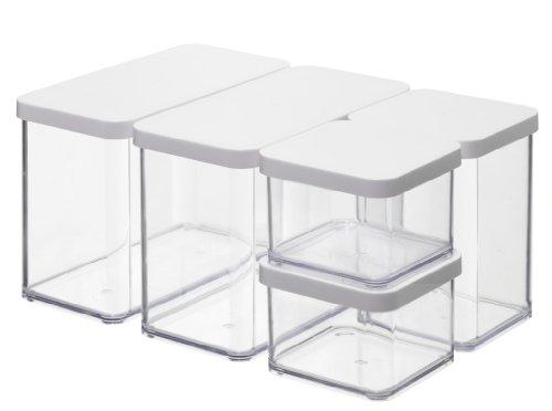 Rotho Vorratsdose Premium Loft - 5-teiliges Set (2x0.5, 1x1.0, 2x2.1 l) luftdichter Aufbewahrungsboxen - BPA-freie Frischhaltedosen - Kunststoffbehälter ist spülmaschinentauglich