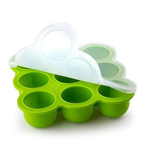 Babybrei Form aus Silikon zum einfrieren und aufbewahren von Baby Brei, 9 x 80 ml Fächer, lebensmittelecht, BPA-frei, mit Deckel, food prep Gefrierform