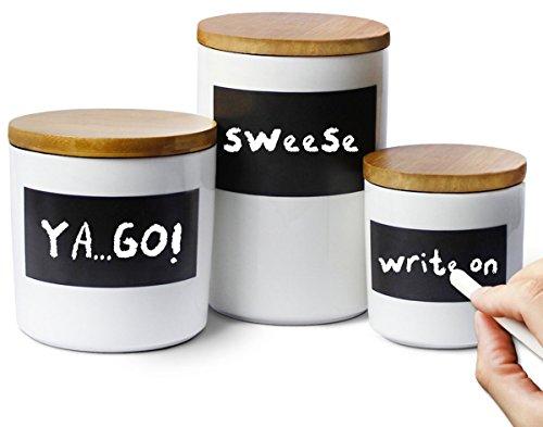 Sweese 3501 Vorratsdosen Keramik mit Bambusdeckel, MemofürKreidebeschriftung,3erSet