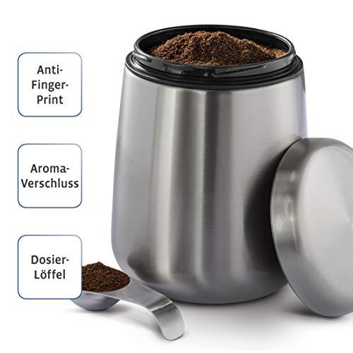 Xavax Kaffeedose Edelstahl matt 500 g, Kaffeebehälter mit Aromaverschluss, mit Dosierlöffel im Deckel, Anti Finger Print Beschichtung, Vorratsdose von 1,8 l Kaffeepulver/-bohnen