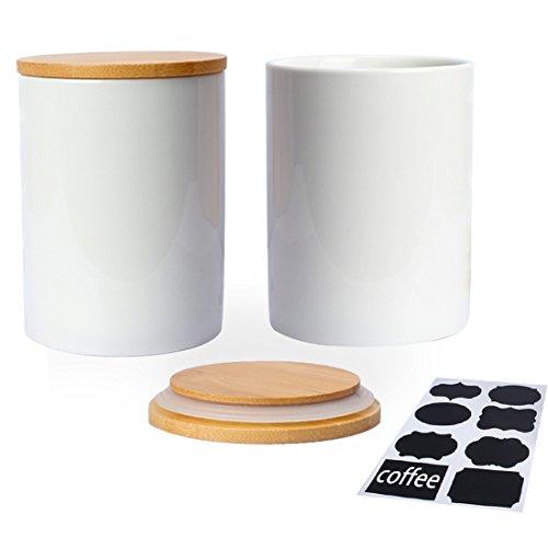 Fecihor Vorratsdosen set von 2 Keramik Dose mit Deckel Weiß Tee und Zucker Vorratsdose Luftdicht Kaffeebohnen Behälter Küche Gewürze Groß mit Schwarzem Etikett