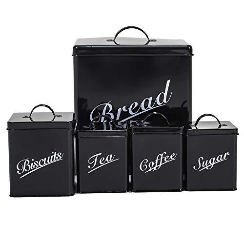 Home Discount® 5Stück Küche Vorratsdose Set Kekse Tee Kaffee Zucker Brotkasten, schwarz