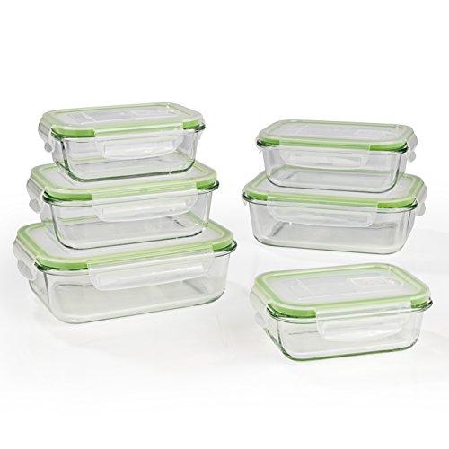 GOURMETmaxx Glas-Frischhaltedosen klick-it | Geeignet für Mikrowelle, Gefrierschrank und Spülmaschine | Transparent | Luftdichter Aromaschutz (6 Dosen & 6 Deckel)