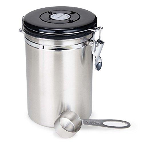 Movaty Kaffeedose Luftdicht,Kaffeebehälter,Kaffeedose Edelstahl Aromadose Vorratsdose Vakuum Dose für Kaffeebohnen, Pulver, Tee, Nüsse, Kakao(Silber, 500g/1.5L)