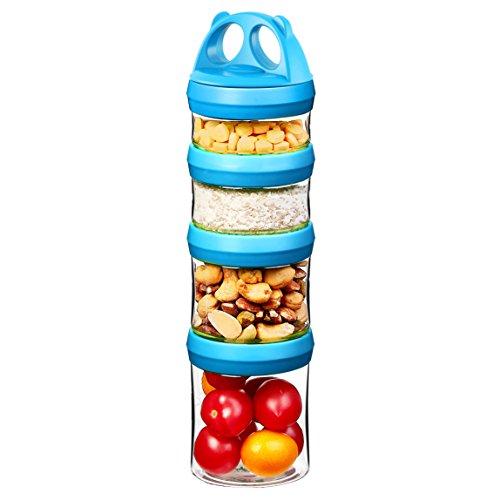 Tritan Frischhaltedosen Snack Aufbewahrungsbox , Twist lock 4-teilig Stapelbar, 100% BPA-Frei, Luftdicht, Auslaufsicher, Geeignet für Mikrowelle, Gefrierschrank und Spülmaschine (0,91 Liter, Blau)