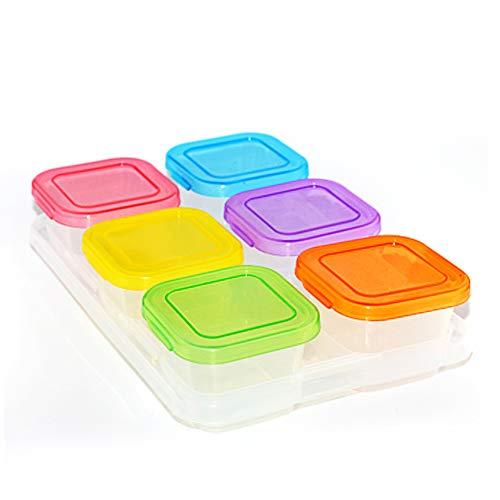 F.lashes Babynahrung Aufbewahrung Behälter Einfrieren Babybrei mit Silikondeckel BPA-frei Zugelassen Für Baby & Kinder Von Hmjunboys Frischhaltedosen 4/6 Sätze