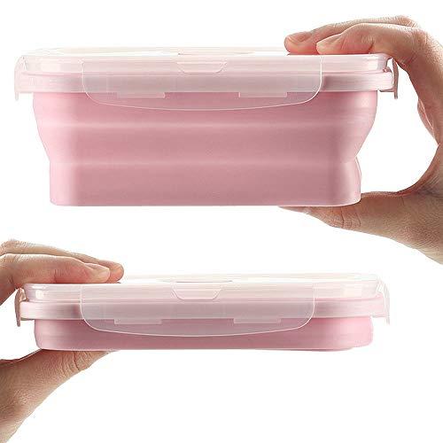 Peakpet Faltbar Brotdose Kinder Erwachsene Silikon Lunchbox zusammenklappbar Frischhaltedose Bentobox Leicht tragbar Brotzeitbox Mikrowellenfest und Spülmaschinenfest (500ML, Rosa)