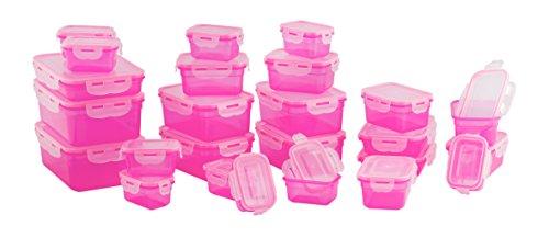 LOKI 50-teiliges Frischhaltedosenset mit 4-fach Frischeverschluss LK-1-50 | Geeignet für Mikrowelle, Spülmaschine und Gefrierschrank | auslaufsichere Spezialdichtung Pink