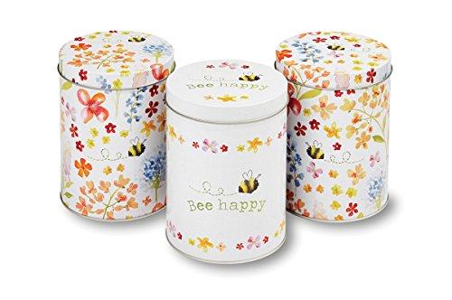 Set von 3runden Tee- / Kaffee- / Zucker- / Lebensmittel-Vorratsdosen / -Blechdosen im Bee-Happy-Design