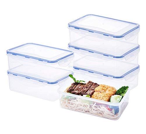 Easylock rechteckige Frischhaltedosen mit Deckel, 6er-Set, 1,15l, mikrowellengeeignet, für Küche, Lebensmittel, Vorgekochtes, Behälter, GrößeL