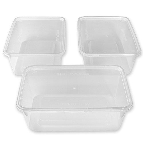Thali Outlet Leeds Tischdeckchen, rechteckig, 50 Stück, transparent, 750 ml, Kunststoff, mikrowellengeeignet, Globe Packaging Lebensmittelbehälter, deren warme und kalte Speisen