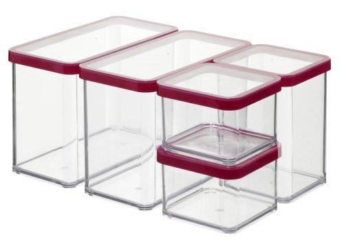 Rotho Loft-Starter Vorratsdose Premium Loft-5-teiliges, Kunststoff, Silikon, transparent/rote Dichtung, Set 5-teilig