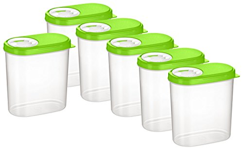 Kigima Gewürzdosen Schüttdosen Streudosen Vorratsdosen 0,30l 6er Set grün