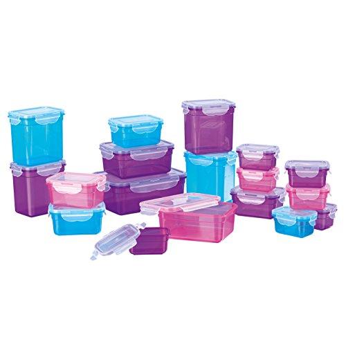 GOURMETmaxx 02003 Klick-It Frischhaltedosen | 36-teiliges BPA freies Aufbewahrungsdosen-Set (18 Dosen und 18 Deckel) | Geeignet für Gefrierschrank, Mikrowelle, Spülmaschine | Multifunktionsboxen Lila/Pink/Türkis