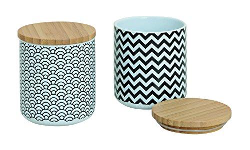 Vorratsdosen 2er Set aus Keramik mit Deckel aus Bambus weiß/schwarz RETRO