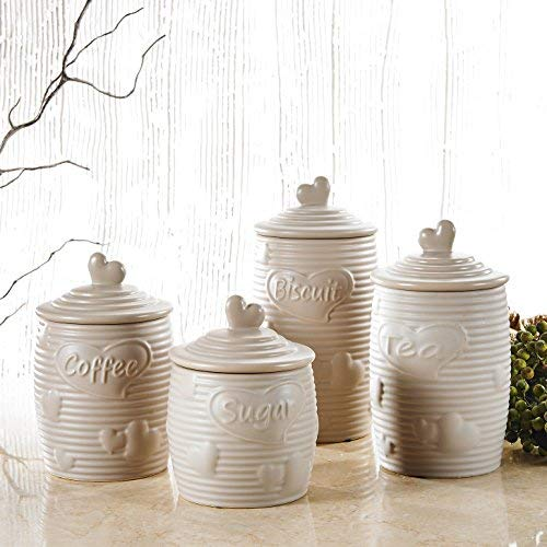4er Set Porzellan Aufbewahrungsdose mit Deckel, Purelifestyle, Küchendose, Zuckerdose, Teedose, Kaffeedose, Beige