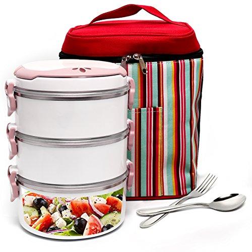 boqun 3Schicht Wärme/Kälte Isolierte Lunch Box Tragbarer Lecksicher Edelstahl Frischhalteboxen, rund, einklappbare Griffe Bento Box mit eine isolierte Tasche und Löffel Gabel Set rose