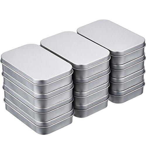 12 Packung 3,75 x 2,45 x 0,8 Zoll Silber Metall Rechteckige Leere Scharnierdosen Box Container Mini Portable Box Kleine Storage Kit, Home Organizer