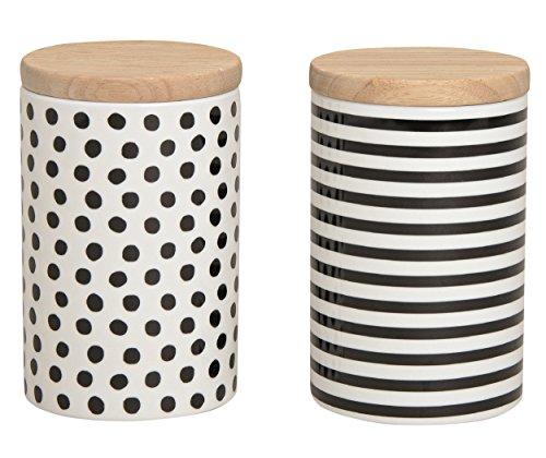 Vorratsdosen 2er Set aus Porzellan, mit Deckel aus Bambus mit Gummidichtung weiß/schwarz Punkte/Streifen