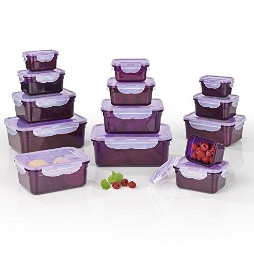 GOURMETmaxx Frischhaltedosen Klick-it, Luftdichte Aufbewahrungsboxen, 28 Teile, Geeignet für Mikrowelle, Gefrierschrank und Spülmaschine, Kunststoff-Bpa Frei, Lila
