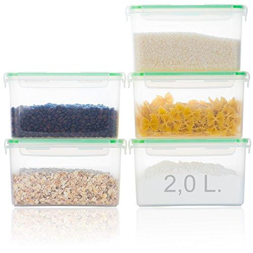 Hausfelder Vorratsdosen Frischhaltedosen Vorratsbehälter - 5er Set | Luftdicht, Wasserdicht und BPA-Frei | Dosen Behälter zur Aufbewahrung von Mehl, Zucker, Nudeln (5 x 2,0 Liter)