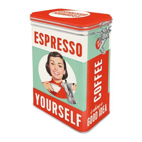 Nostalgic-Art 31104 Say it 50's - Espresso Yourself | Retro Aromadose| Blech-Dose | Kaffee-Dose | Aromadeckel | Metall