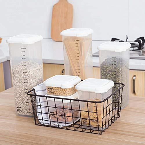 Vorratsdosen Frischhaltedosen Durchsichtig Kunststoff Luftdichte Aufbewahrungsboxen Schüttdosen Behälter Lagerung Kanister mt luftdichtem Deckel für Zucker, Tee, Kaffee 240/650/1000/1800/2200 ml