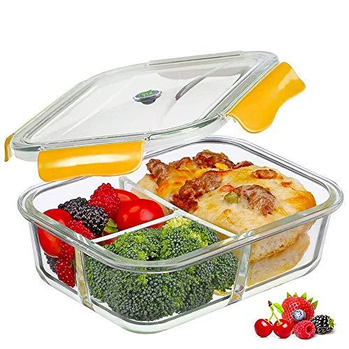 SELEWARE Frischhaltedosen Glas Lunchbox 100% bpa frei Luftdicht Auslaufsicher mit 3 fächern Ofen Mikrowellengeeignet sicher für Gefrierschrank und Spülmaschine (1,04 Liter, Rechteck, Orange)
