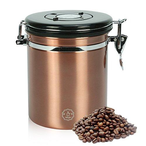 Movaty Kaffeedose Luftdicht,Kaffeebehälter,Kaffeedose Edelstahl Aromadose Vorratsdose Vakuum Dose für Kaffeebohnen, Pulver, Tee, Nüsse, Kakao, 16 OZ, 500g