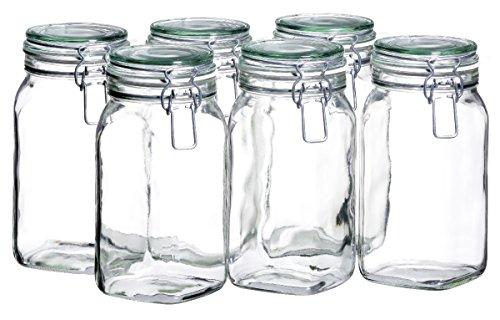 Mäser, Serie Gothika, Einmachglas 1.45 Liter, Vorratsgläser mit Bügelverschluss, im 6er-Set