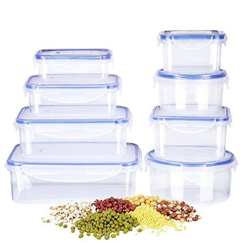 Deik Frischhaltedosen | Frischhalteboxen | 8 Teile | Geeignet für Mikrowelle, Gefrierschrank und Spülmaschine | Transparente
