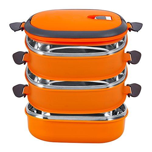 Lunchbox, Yosoo Tragbare Frischhaltebox Lebensmittelbehälter aus Edelstahl mit Griff für Essen, Aufbewahrungsbox für Lebensmittel (3 Etage, Orange)
