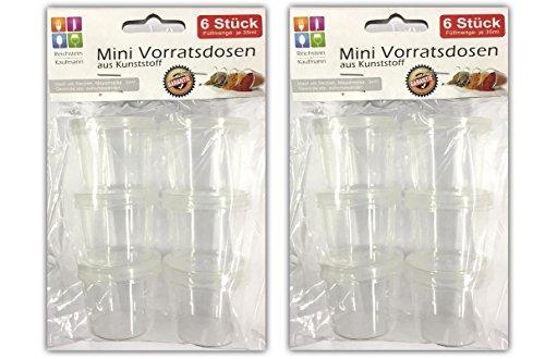 Reichstein & Kaufmann 12 Stück Mini Vorratsdosen aus Kunststoff | Aufbewahrungsdosen Frischhaltedosen